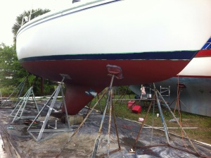 Close to done, seen on the keel is  the Marine Tex repair to Catalina Smile